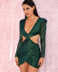 Glitter Green Cut Out Bodycon Slim Fit Mini Party Dress LE98863