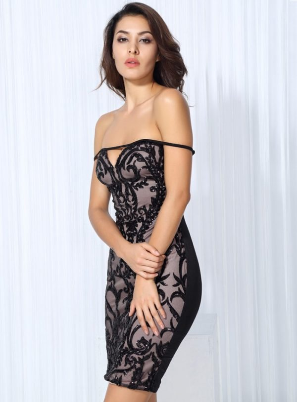 Black Flower Vines Sequins Sexy Bodycon Cocktai Party Dress LE99766