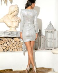 Silver Sparkly Sequins Bodycon Party Dress With Ribbon Long Sleeves LE98591