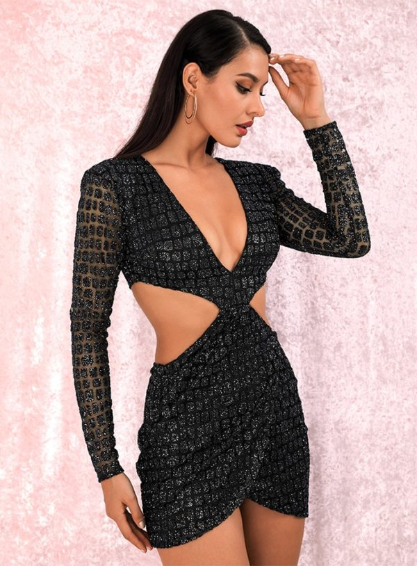 Deep Vneck Sexy Cut Out Cross Glitter Bodycon Party Dress With Sleeves LE98717