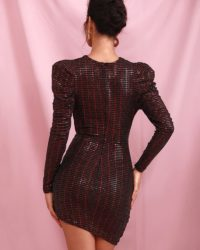 Dark Red Bubble Long Sleeve Ruffled Sequins Mini Party Dress LE98628