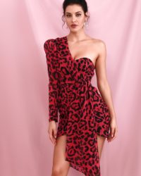 Sexy Red One Shoulder Leopard Printed Bodycon Party Dress With Ribbon LE98594
