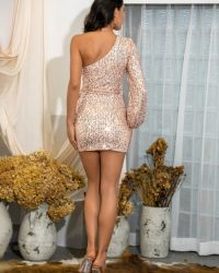 Gold Sequins Single Long Sleeve Bodycon Mini Dress With Sash LE98633