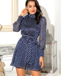 Romantic Vintage Polka Dot Navy Blue Chiffon Dress With Puffy Long Sleeve LE98590