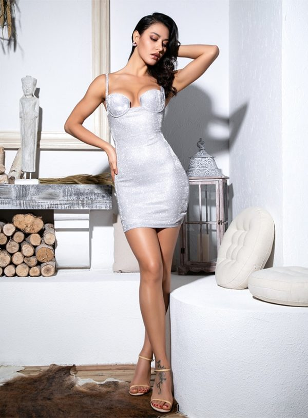 Silver Glitter Elastic Bodycon Night Out Party Dress LE99179