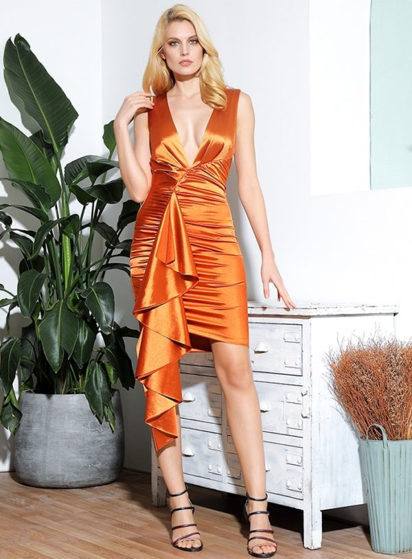 Orange Deep Vneck Pleated Bodycon Party Dress With Ruffles LE98967