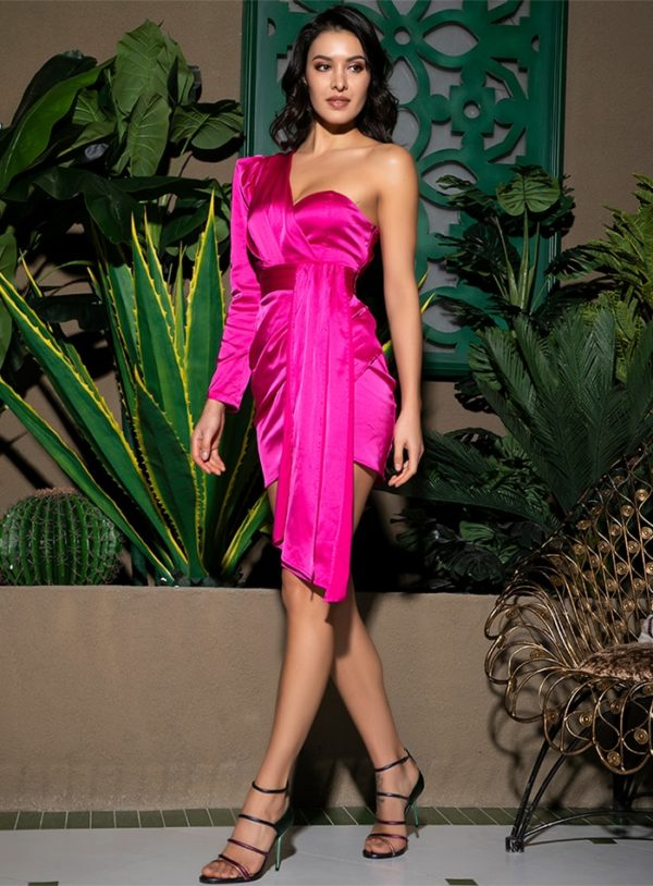 Sexy Hot Pink One Shoulder Mini Bodycon Party Dress With Ribbon LE99041