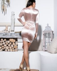 Nude Sexy Vneck Mini Bodycon Party Dress With Long Sleeves LE99181