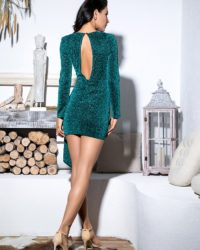 Emerald Green Slim Fit Bodycon Party Dress With Long Sleeves LE98844