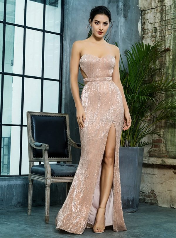 Sexy Side Slit Sparkly Sequins Formal Long Party Dress Open Back LE99390