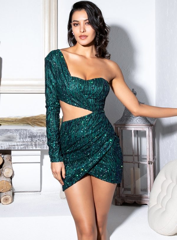 Green Cut Out Bling Sequins Single Sleeve Bodycon Party Dress LE99137
