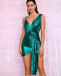 Reflective Green Pleated Ribbon Vneck Bodycon Party Dress LE98910