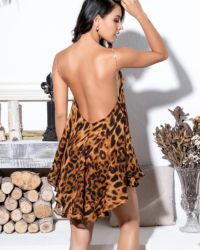 Open Back Leopard Print Chiffon Party Dress With Spaghetti Straps LE99062