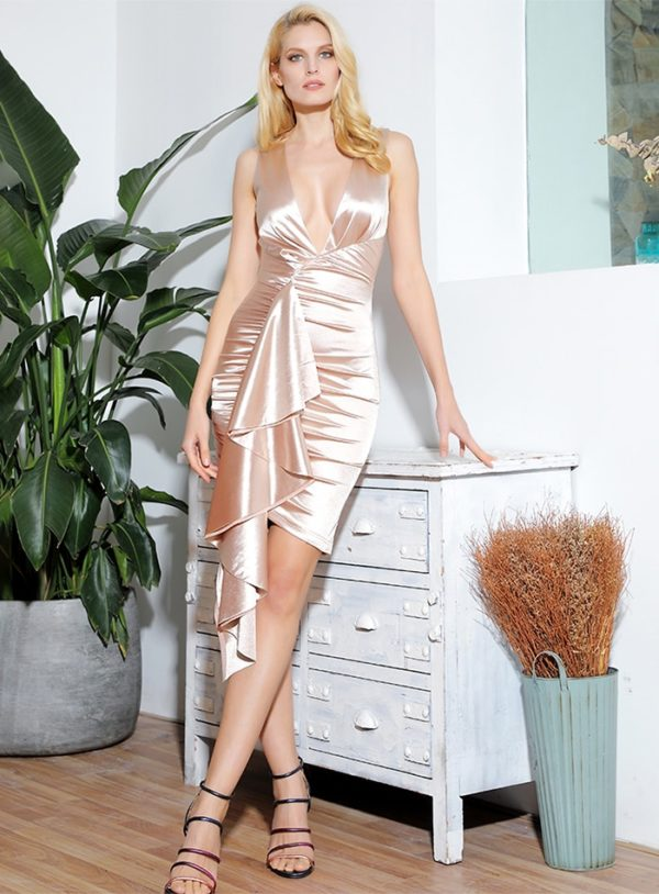 Sexy Vneck Bodycon Reflective Pleated Mini Party Dress With Ruffles LE98968