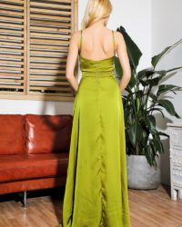 Green Vneck Sling Split Beach Flowy Long Dress With Straps LE98918