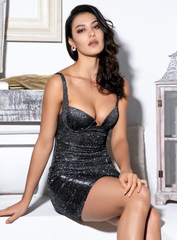 Glitter Black Bodycon Fitted Sexy Mini Dress With Straps LE99146