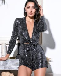 Glitter Sequins Elastic Material Playsuit With Long Sleeves LE99102