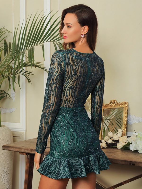 Green Cut Out Sparkly Sequins Bodycon Party Dress With Long Sleeves LE99136