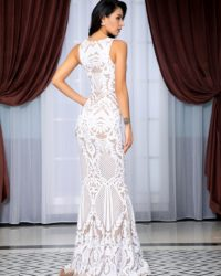 Deep Vneck White Geometric Sequins Mesh Mermaid Long Dress For Formal LE99221