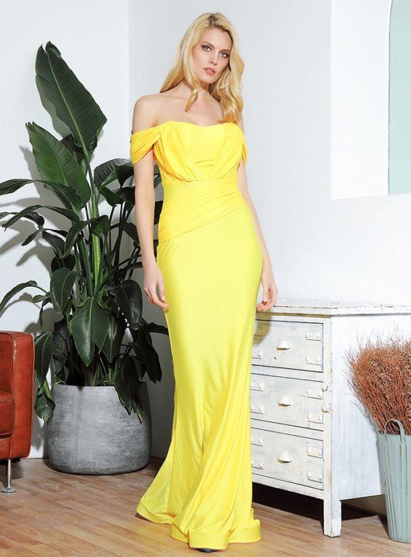 Bright Yellow Elegant Formal Long Dress Off Shoulder Straps LE98995