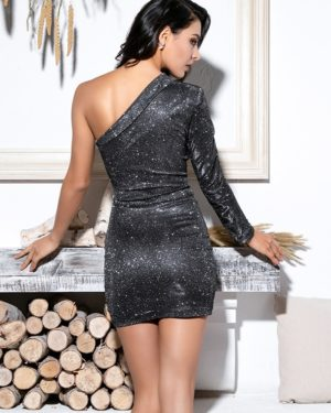 Black And Silver Bodycon Long Sleeve Chic Sequins Party Dress LE99049