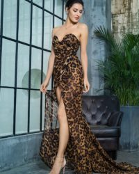 Strapless Brown Leopard Print Chiffon Slit Long Dress LE99394