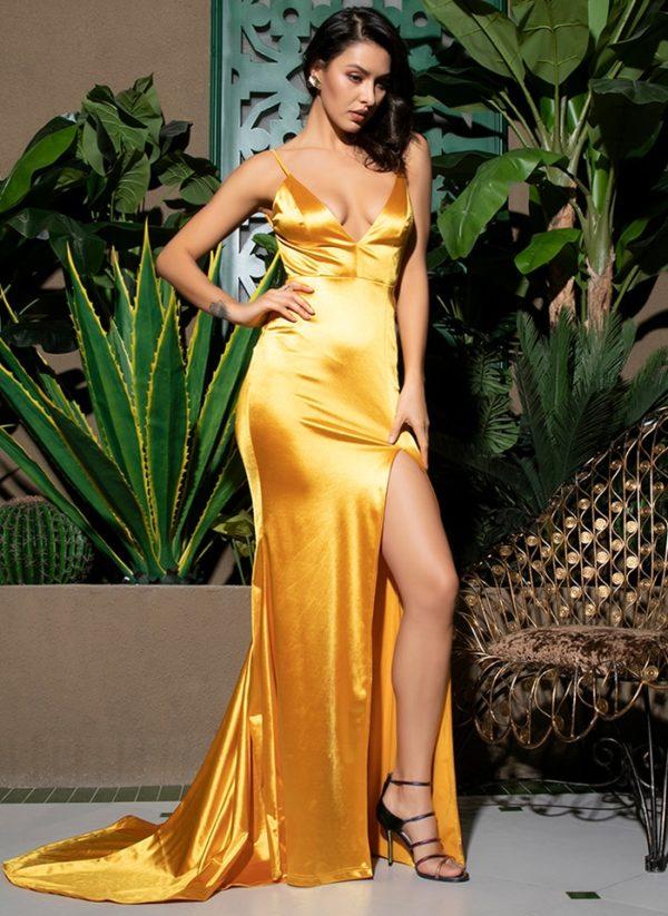 Sexy Deep Vneck Gold Backless Slit Bodycon Sleek Party Dress LE99047