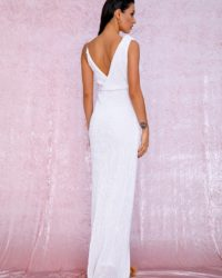 Sexy White Sequins High Split Maxi Party Dress For Formal LE98884