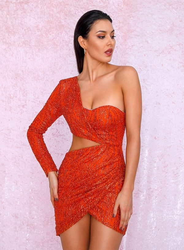 Sexy Orange Bling Sequins Cut Out Mini Party Dress With Single Sleeve LE99003