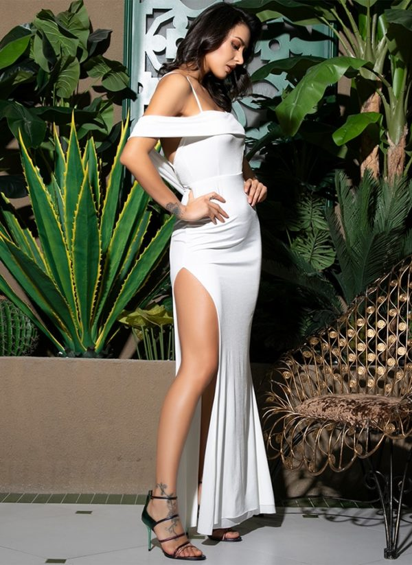 White Side Slit Open Back Bodycon Maxi Dress With Spaghetti Straps LE99028