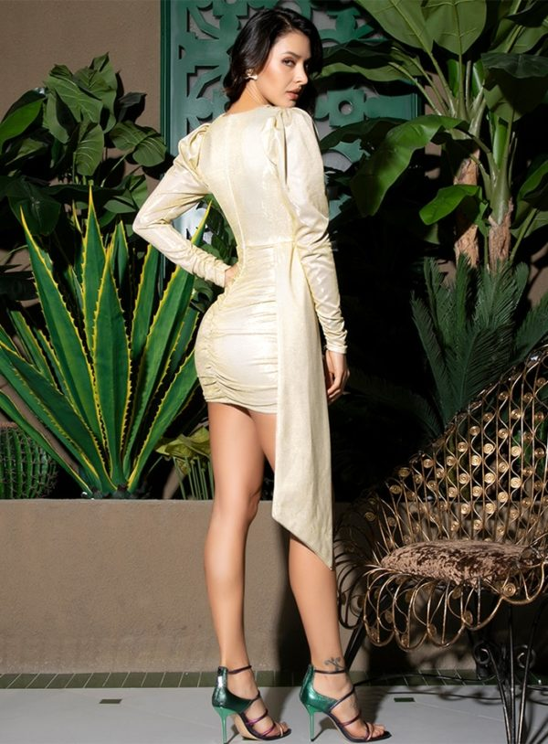 Sexy Shinning Gold Slim Long Sleeve Mini Party Dress LE98858