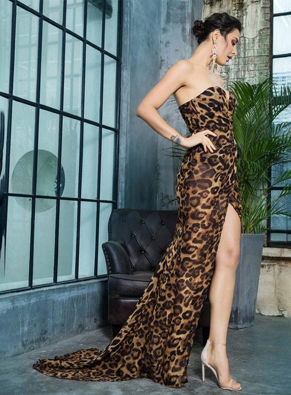 Strapless Brown Leopard Print Chiffon Slit Long Dress LE99394