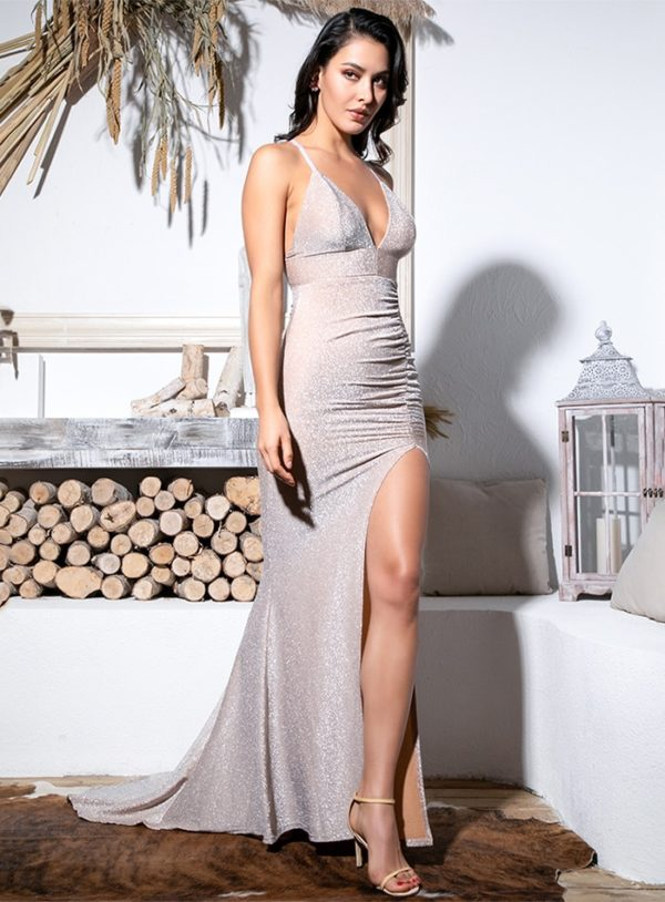 Nude Shiny Elastic Fabric Vneck Party Dress With Slit LE99065