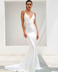 White Deep Vneck Simple Open Back Shinning Fabric Evening Dress With Train LE99530
