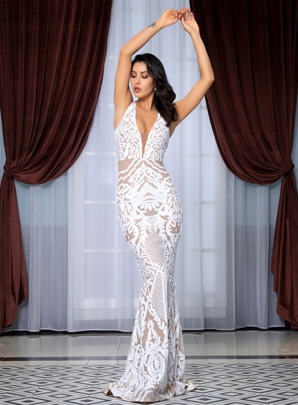 Deep Vneck White Geometric Sequins Mesh Mermaid Long Dress For Formal LE99221