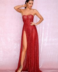 Sexy Red Strapless High Slit Sparkly Glitter Maxi Dress LE98854