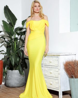 Bright Yellow Elegant Formal Long Dress Off Shoulder Straps LE98995