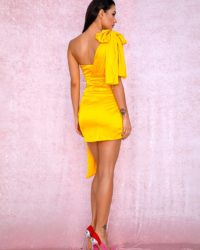 Yellow One Shoulder Slim Fit Mini Party Dress LE98914