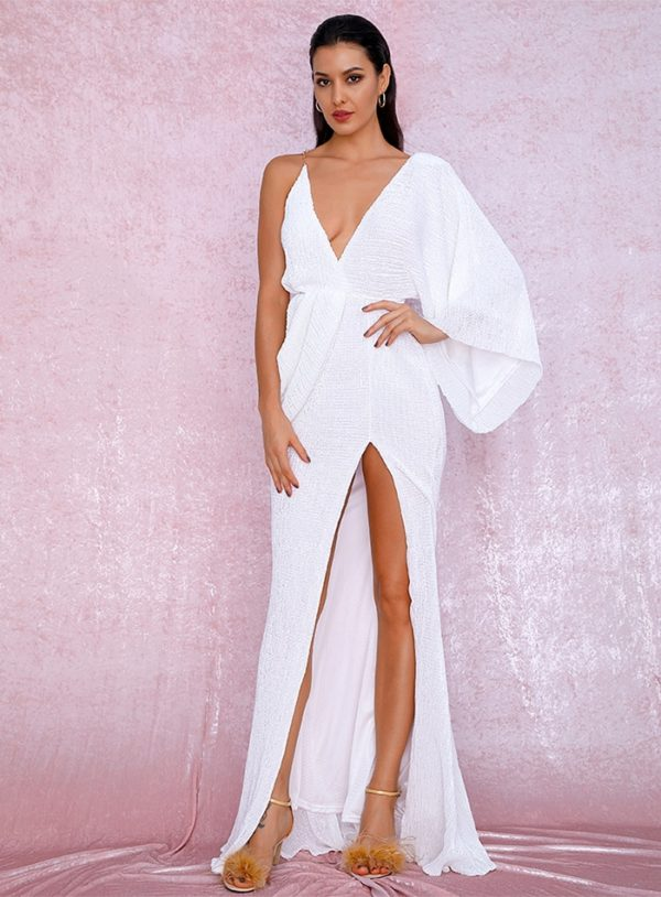 Sexy White One Long Sleeve Sequins Slit Party Dress With Open Back LE98842