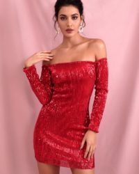 Sexy Red Bling Sequins Drop Shoulder Mini Party Dress With Sleeves LE98569