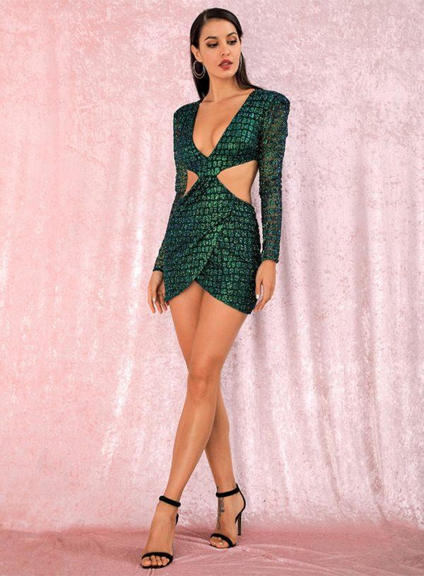 Glitter Green Cut Out Bodycon Slim Fit Mini Party Dress LE98863