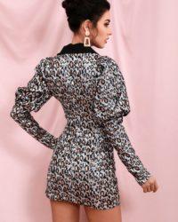 Unique Vneck Collar Leopard Blazer Dress With Bubble Long Sleeve LE98450