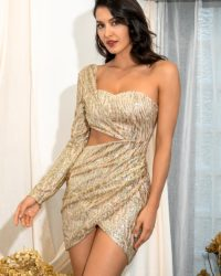 Sexy Gold Cut Out Single Sleeve Bodycon Mini Dress With Glitter Sequins LE98642