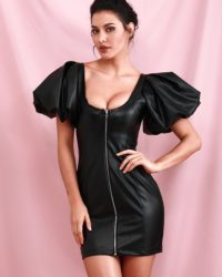 Sexy Black Pu Leather Open Zipper Bubble Sleeve Bodycon Party Dress LE98545