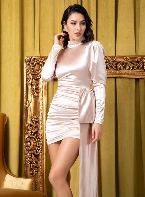 Apricot High Collar Long Sleeve Bodycon Party Dress With Sash LE99114