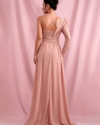 Pink Chiffon Side Split Single Sleeve Beach Maxi Dress With Sash LE98411