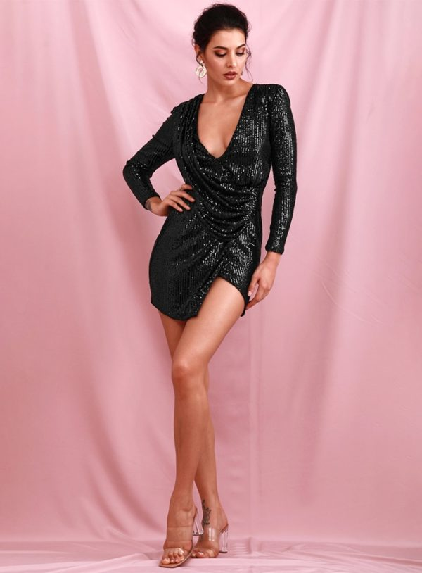 Black Vneck Elastic Sequins Bodycon Party Dress With Long Sleeves LE98684