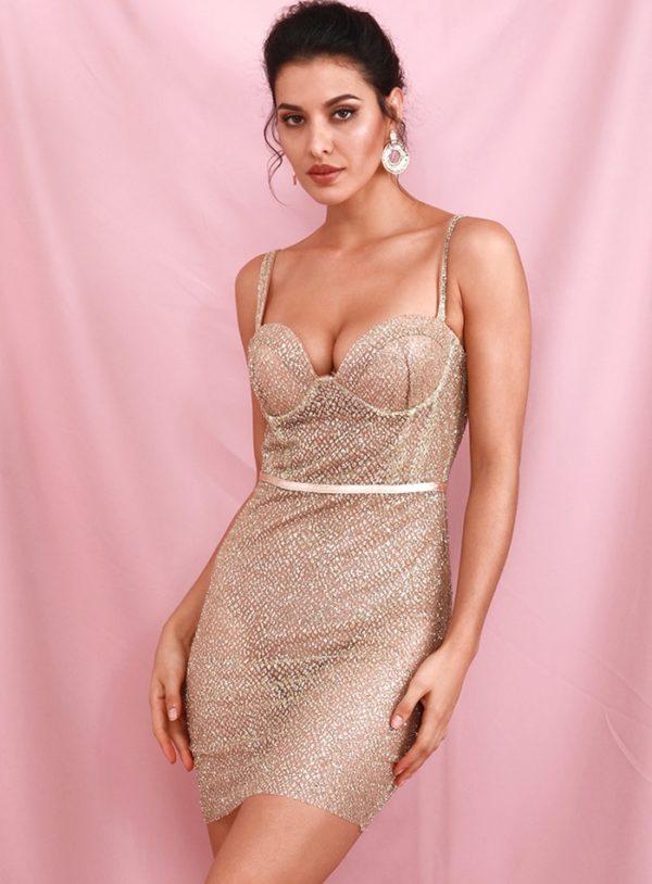 Glitter Sexy Gold Tube Top Mini Bodycon Dress Backless LE98615