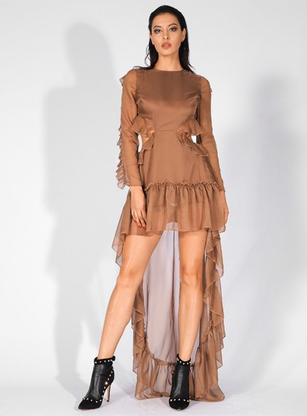 Special Brown Chiffon High Low Chic Party Dress With Cut Out Long Sleeves LE99244