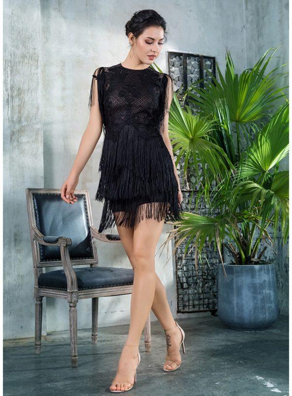 Black Round Neck Lace Mesh Dance Party Dress With Fringes LE99360